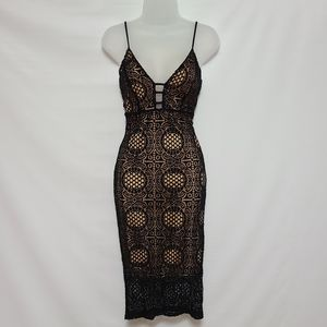 Black Lace Nude Overlay Cami Midi Dress Medium